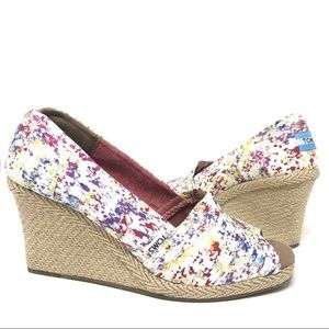 Toms Watercolor Print Wedge Heel Espadrilles 9.5